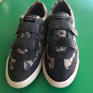 Coach Denim Style Monogrammed Velcro Sneakers 9.5